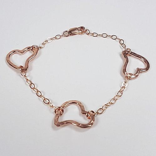 Rose gold bracelet Open Heart in chain