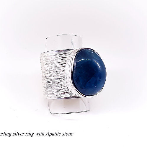 Large sterling silver ring with Row Apatite stone
