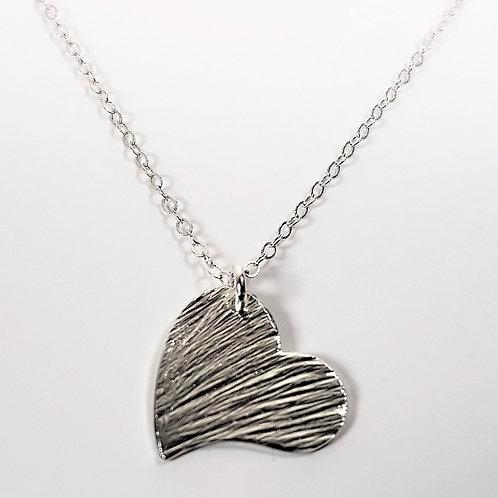 Sterling silver monogram pendant Open Heart