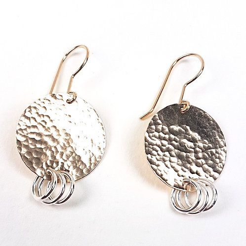 Fancy EarringsHammered Gold with Silver