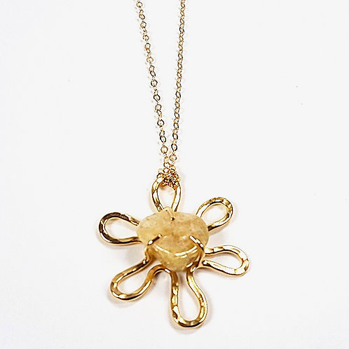 Gold pendant Flower with Row Yellow Beryl stone