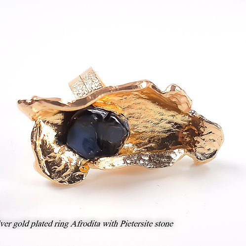 Great silver gold plated ring Afrodita with Pietersite stone