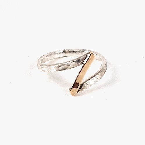 Delicate silver and 9k gold ring