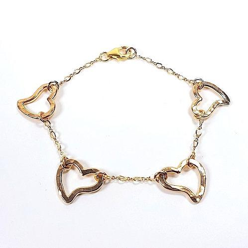 Gold Bracelet Open Heart in Chain