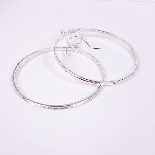 Large hoops silver earrings