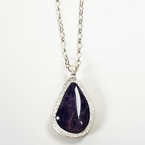 Amazing Amethyst stone in silver pendant