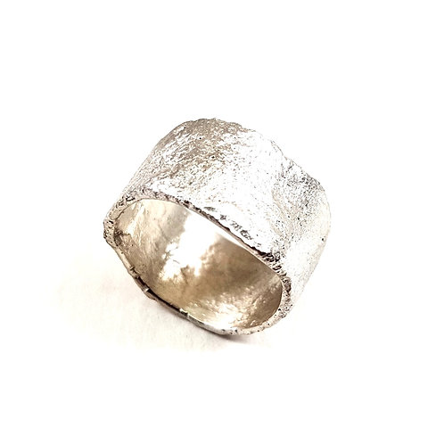 Contemporary Reticulated Unformed Silver Ring
