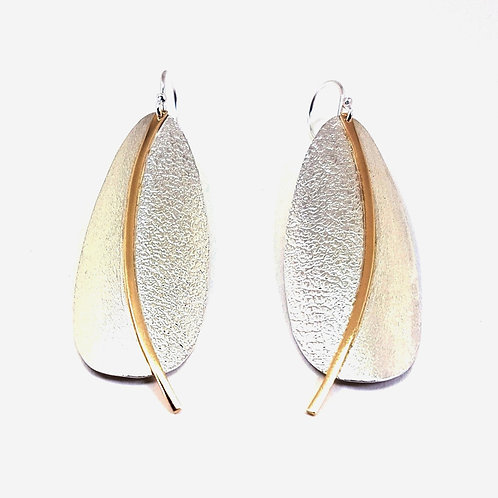Silver with 9k gold Drops large engraving earrings