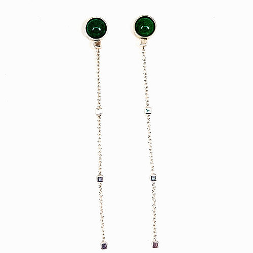 Silver chain earrings with Green Avanturine stone
