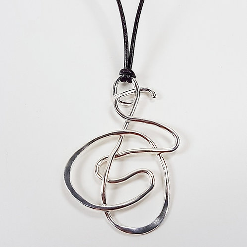 Silver abstract free-form pendant