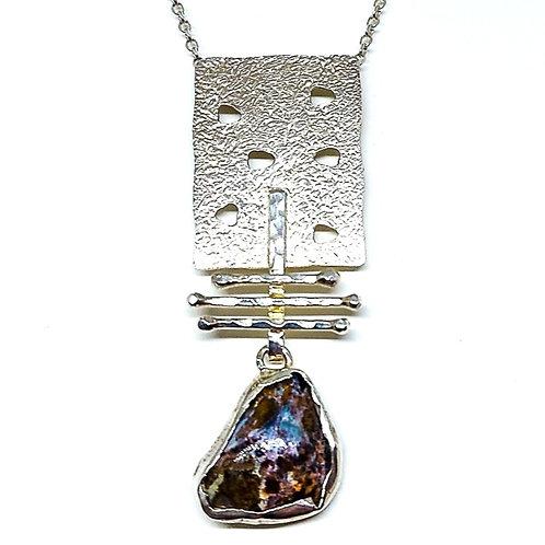 Great silver pendant with Row Pietersite stone