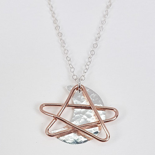 Rose gold with silver pendant The Star and The Moon