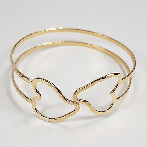 Gold bracelet An pair of unit hearts