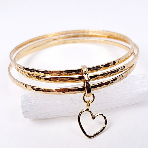 Great gold triple bracelet Romantic heart