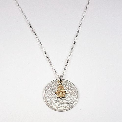 Silver circle with gold Fatima symbol pendant
