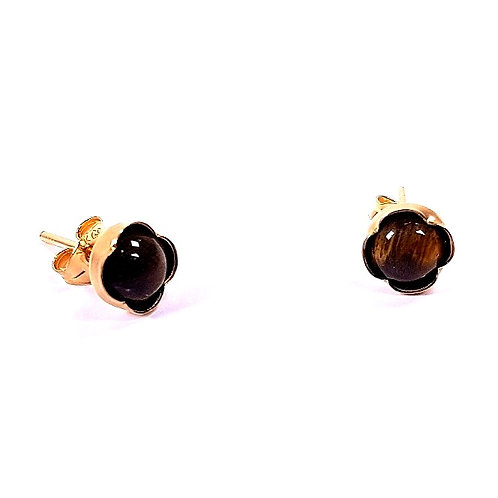 Gold small stud earrings Tiger's eye