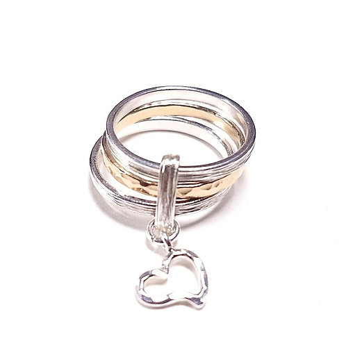 Triple silver with gold ring Lovely heart