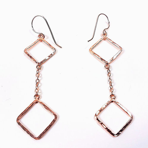Rose gold Square earrings