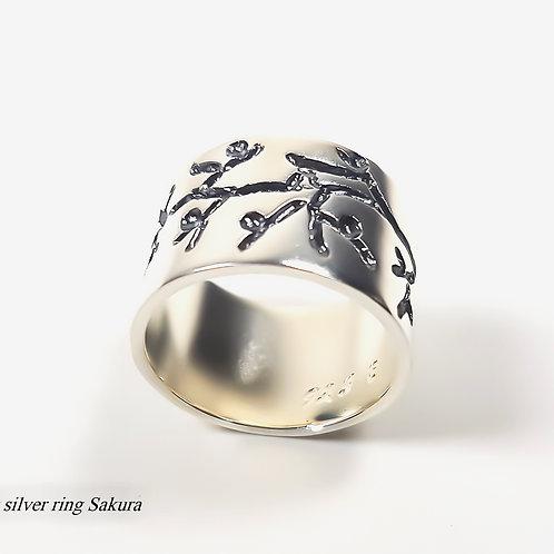 Sterling silver ring Sakura