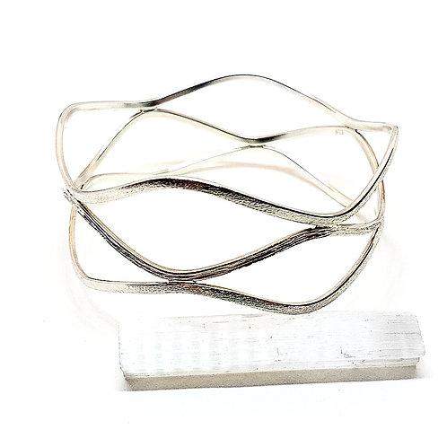 Great silver engraving Wave triple bangle