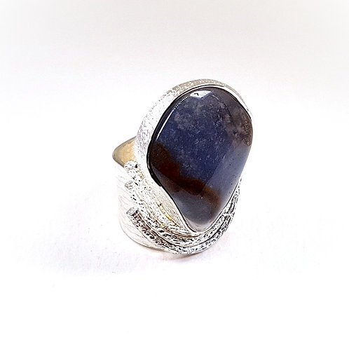 Large silver ring with Row Blue Chalcedony stone