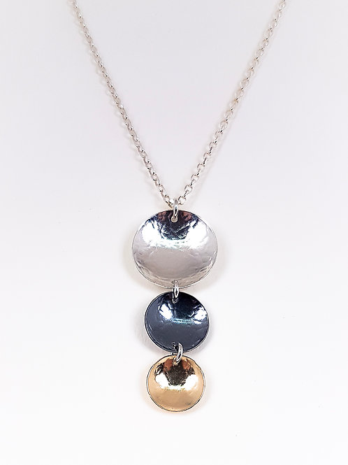 Multicolor silver, oxidized silver and gold pendant