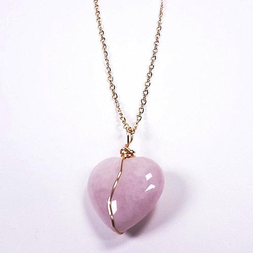 Rose Quartz heart in gold pendant