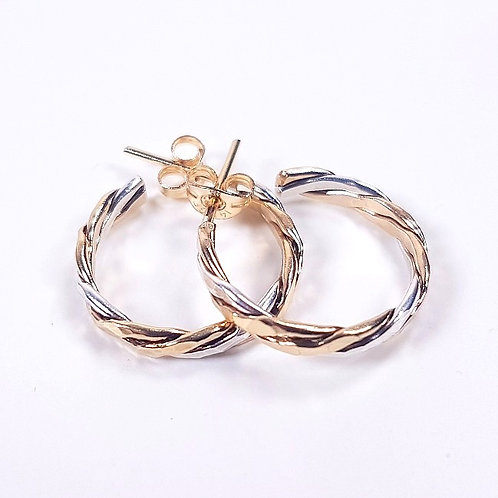 Gold with sterling silver crossover hoop earrings