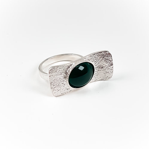 Silver Wave ring with Green Agate stone