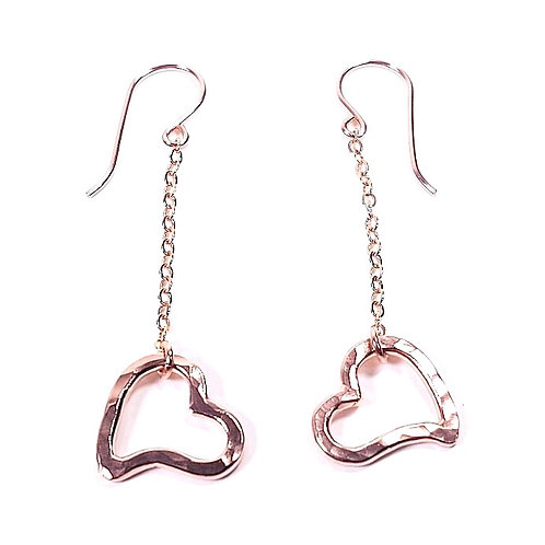 Rose gold hammered earrings Open Heart