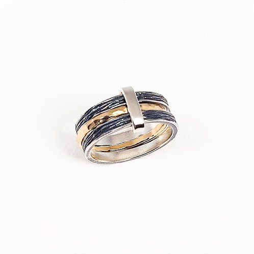 Oxidized silver with gold triple ring