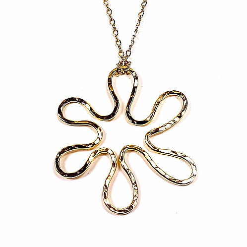 Large hammered gold pendant Flower to you