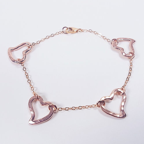 Rose gold bracelet Open heart in chain
