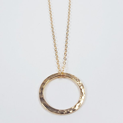 Hammered gold pendant Simple circle