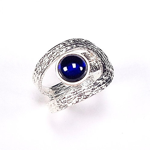 Sterling silver ring with Blue Corundum stone