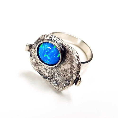 Oxidized Sterling Silver Ring with Opalite Stone