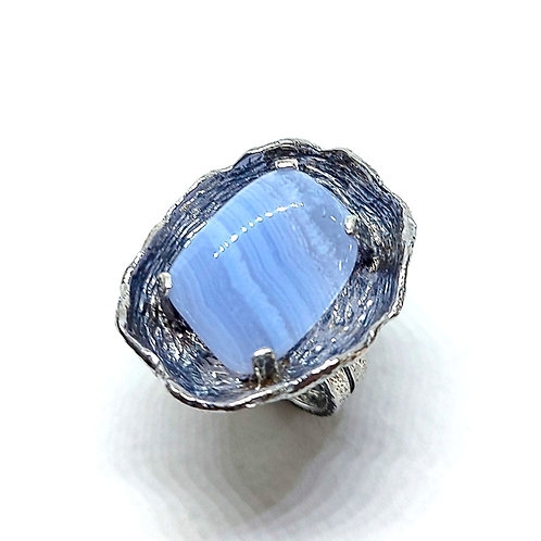 Great oxidized silver ring with Row Blue Lace Agate