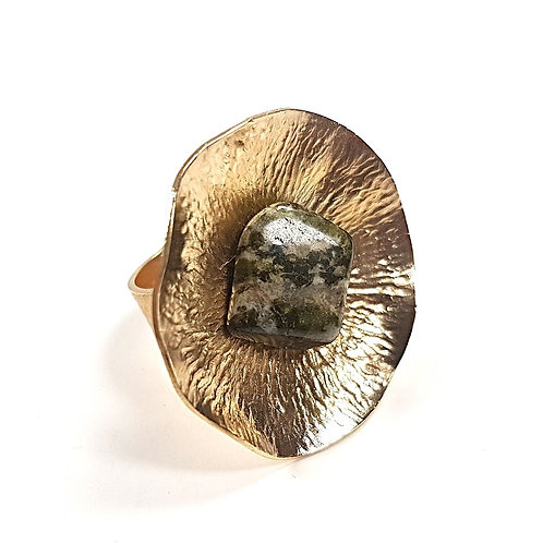 Glamorous 14k gold plated ring with Epidote stone
