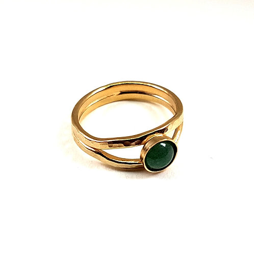Hammered gold ring with Green Avanturine stone