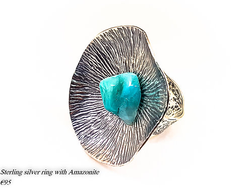 Large oxidized sterling silver ring with Row Amazonite stone