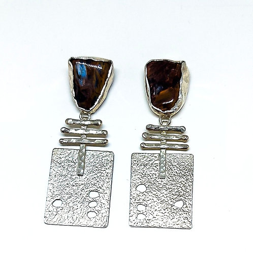 Great silver stud earrings with Row Pietersite stone