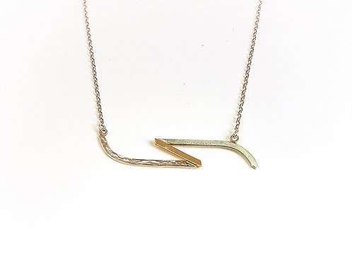 Silver with 9k gold pendant necklace