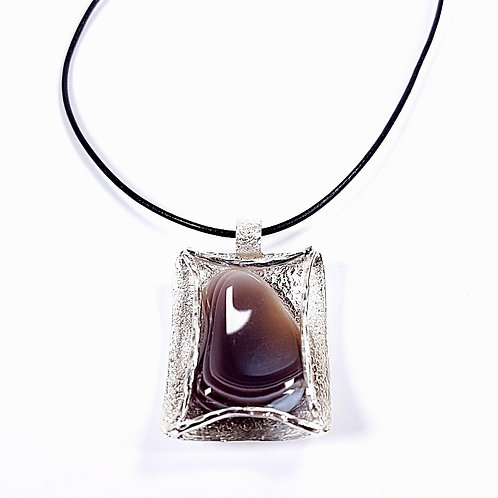 Sterling Silver Pendant with Row Grey Agate Stone