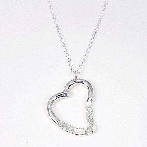 Sterling silver pendant Open heart with monogram