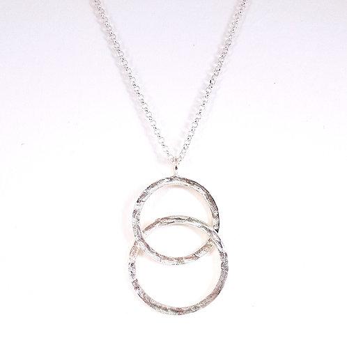 Silver large Interlocking circles pendant