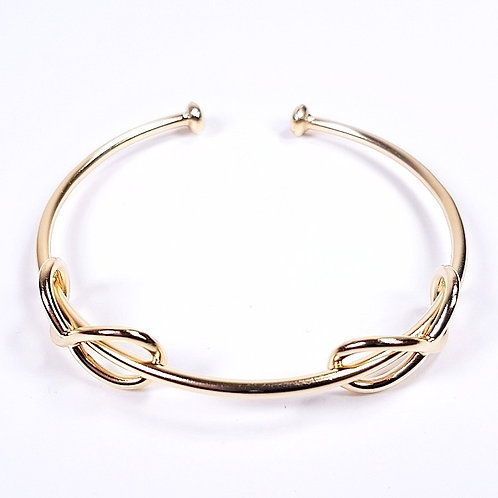 Gold bracelet Infinity double cuff