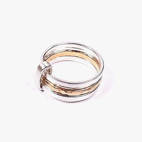 Silver with gold triple ring
