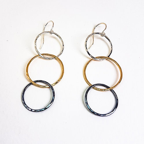 Large multicolor three hoops hammered earrings