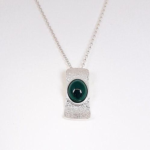 SilverWave pendant with Green Agate stone