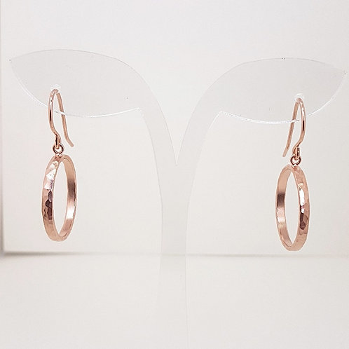Delicate rose gold medium circle earrings